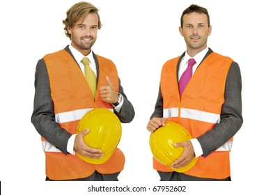 Engineers team isolated in white