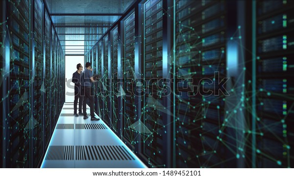 IT Engineers and Technician discussing technical problem in server room with data connection visual effect .