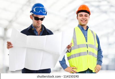 Engineers at work in a construction site