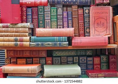 England april 17,2019 antique vintage books on a stall in Portobello market road London