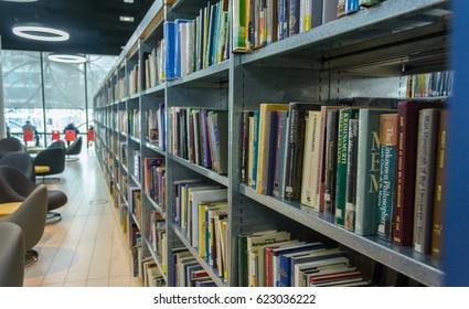 England, Birmingham - April 10, 2017: Library of Birmingham Interior E Shallow Depth of Field