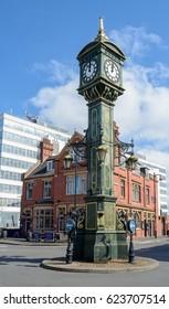 England, Birmingham - April 10, 2017: Clock Monument B in Jewellery Quarter Birmingham Shallow Depth of Field