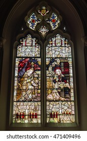 England, Bristol - 16 August 2016: Church of Holy Trinity, Stapleton Stained Glass A