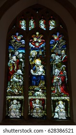 England, Bristol - April 25, 2017: Stained Glass H Holy Trinity Church, Westbury on Trym, English Gothic architecture, Church of England