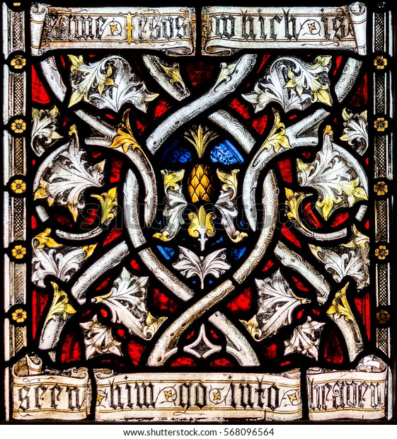 England, Bristol - Jan 28, 2017: St Mary Redcliffe Stained Glass Close Up F Bristol English Gothic Medieval Church of England UK Spiritual Christian