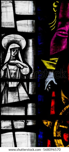 England, Bristol - Jan 28, 2017: St Mary Redcliffe Stained Glass Close Up C Bristol English Gothic Medieval Church of England UK Spiritual Christian