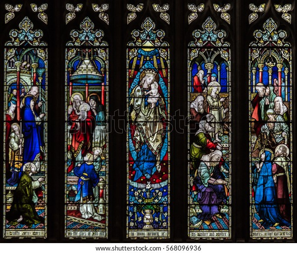 England, Bristol - Jan 28, 2017: St Mary Redcliffe Stained Glass B English Gothic Medieval Church of England