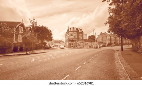 England, Bristol - June 03, 2017: Looking Down Redland Road E Bristol England Long Exposure Photography Motion Blur Sepia Tone