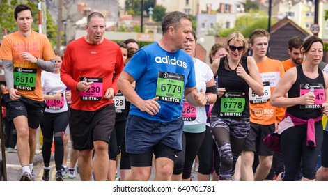 England, Bristol - May 7, 2017: Marathon Runners Y55, Simplyhealth Great Bristol 10k, Shallow Depth of Field