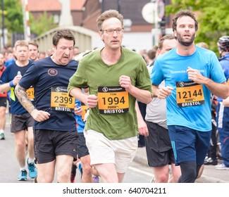 England, Bristol - May 7, 2017: Marathon Runners T1, Simplyhealth Great Bristol 10k, Shallow Depth of Field