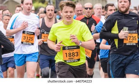 England, Bristol - May 7, 2017: Marathon Runners T4, Simplyhealth Great Bristol 10k, Shallow Depth of Field