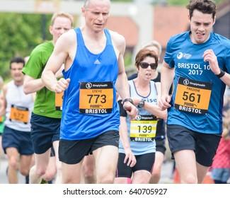 England, Bristol - May 7, 2017: Marathon Runners M4, Simplyhealth Great Bristol 10k, Shallow Depth of Field