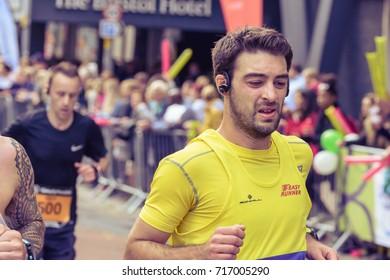 England, Bristol - Sep 17, 2017: Marathon Unknown Male Runner 12, Simplyhealth Great Bristol Half Marathon