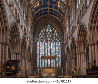 England, Carlisle - 24 April 2016: Carlisle Cathedral Nave Altar Stained Glass