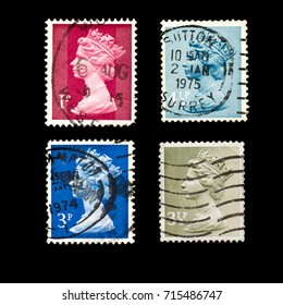 ENGLAND - CIRCA 1971 - 1975:  Set of English used Postage Stamps showing Portrait of  Queen Elizabeth 2nd, circa 1971 – 1975