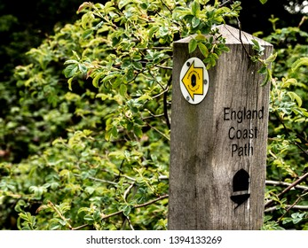 England Coast Path sign, Pegwell Bay, Kent, England, UK,  May 2019 - editorial