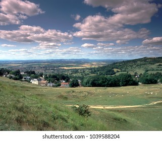 England, Cotswolds, Gloucestershire, view to the distant Malvern Hills from Cleeve Cloud near Cheltenham