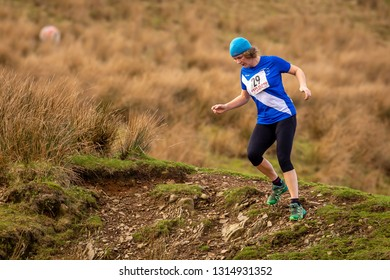 England, Cumbria, Ennerdale, 16th February 2019, Jarrett's Jaunt Fell Run, competitors competing hard