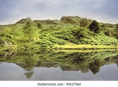 england cumbria lake district national park far sawrey near where beatrix potter lived -  tarn (reservoir)  claife heights