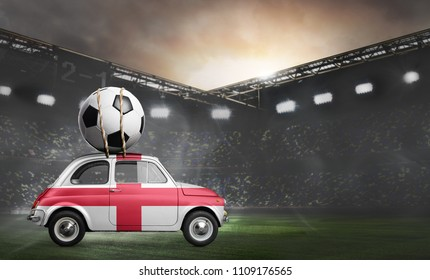 England flag on car delivering soccer or football ball at stadium