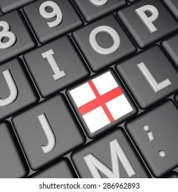 England flag over key on keyboard, 3d render, square image