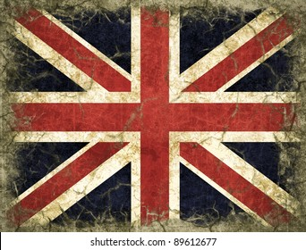 An England flag painted on old wall, The Union Jack flag
