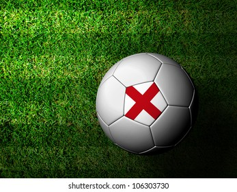 England Flag Pattern 3d rendering of a soccer ball in green grass