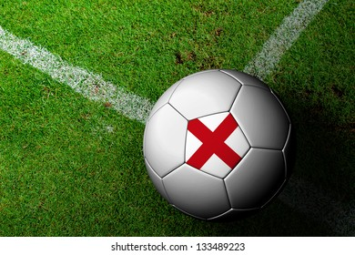England Flag Pattern of a soccer ball in green grass