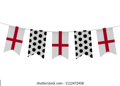 England flag and soccer ball texture football flag bunting. 3D Rendering