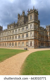 England, Hampshire. 2 May 2017. Highclere Castle. Jacobethan style country house, seat of the Earl of  Carnarvon.  Setting of Downton Abbey.