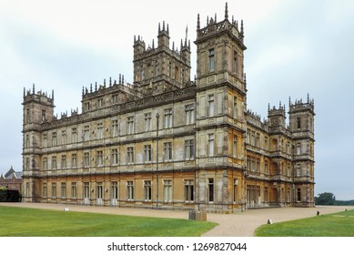 England, Hampshire. 22 August 2018. Highclere Castle. Jacobethan style country house, seat of the Earl of Carnarvon. Setting of Downton Abbey.