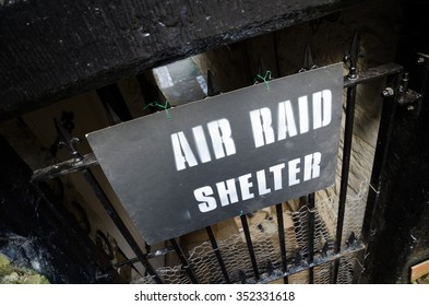 England, Howarth, 05/17/2015, Air raid shelter sign, Howarth 1940s weekend town takeover