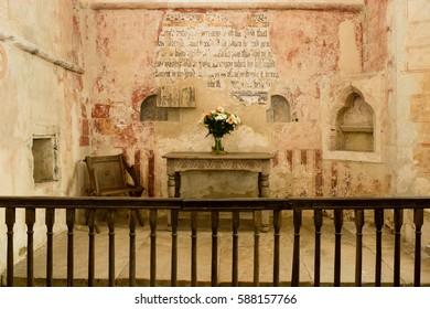 England, Inglesham - Oct 21, 2016: St John the Baptist Church Altar Anglo-Saxon and Gothic architecture Grade I Building