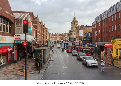 England - January 2018: The A3036 is an a road in London near Clapham Junction railway station. View from double-decker bus. St John's Hill in south-west Battersea in the London Borough of Wandsworth.
