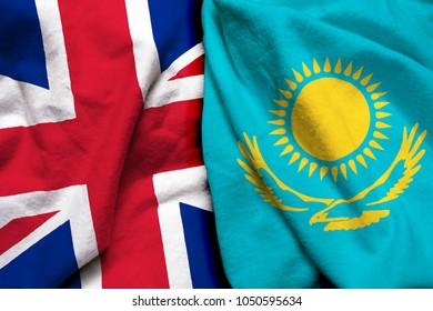 England and Kazakhstan flag together