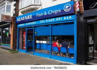 England. Kent. Circa. 07.07.2014. A shop front of a traditional  British Fish and Chip shop.