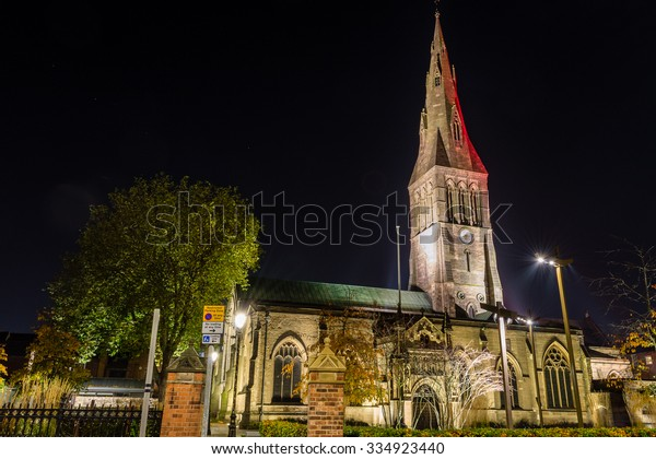 ENGLAND, LEICESTER - 01 NOV 2015: Leicester Cathedral by night
