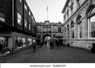 England, Lincoln - Nov 16, 2017: Looking Down High Street and Guildhall, Old Medieval City Part Blended With Modern Architecture, Black and White Street Photography