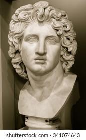 ENGLAND, LIVERPOOL - 15 NOV 2015: Bust of Alexander the Great, captured at Walker Art Gallery