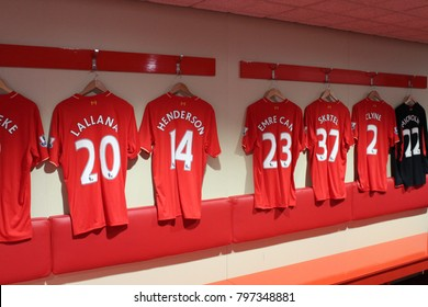 ENGLAND, LIVERPOOL, ANFIELD STADIUM, SEPTEMBER 28, 2015; LFC jerseys on hangers inside the Anfield stadium in Liverpool