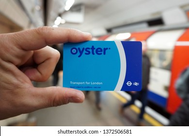 England , London april 17,2019 - Oyster prepaid card for public transport in London, subway, bus and trains
