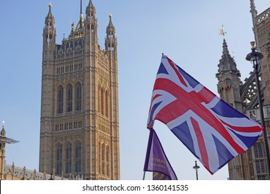 England London April 2,2019  - Brexit demonstration in Westminster - Protests in favor of England's exit from Europe - Flags and sign