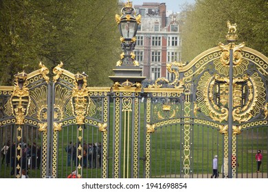 England - London – April 24, 2015: Canada Gate is part of the Queen Victoria Memorial in London. It's entrance to Green Park. The gate is dedicated to Queen Victoria who died in 1901.
