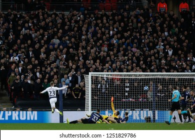 England, London, november 28 2018: Christian Eriksen, Tottenham striker, scores the 1-0 goal at 80' during football match TOTTENHAM HOTSPUR vs FC INTER, Champions League 2018/2019, Wembley stadium