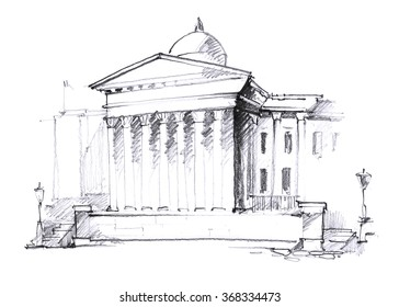England, London urban sketch. Trafalgar Square. The National Gallery Building. Outdoor, landscape, park, center, city. Hand drawn illustration. Freehand pencil travel sketch. Line art drawing.