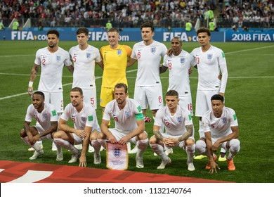 "England national football team before 1/2 final football match at World cup 2018 between Croatia and England. ""Luzhniki"" stadium, Moscow, 11th of july 2018."