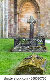 England, North Yorkshire, Wharfedale, Bolton Abbey. Grounds and ruins of 12th century Augustinian monastery.  Grave Stones. 2017-05-03