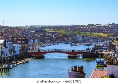 England, North Yorkshire, Whitby. Seaside town, port, civil parish in the Borough of Scarborough. Whitby has an established maritime, mineral and tourist economy. 2017-05-05