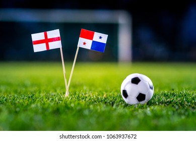 England - Panama, Group G, Sunday, 24. June, Football, National Flags on green grass, white football ball on ground.