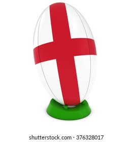 England Rugby - English Flag on Standing Rugby Ball